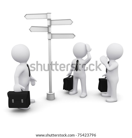 3D man making choice standing near sign post