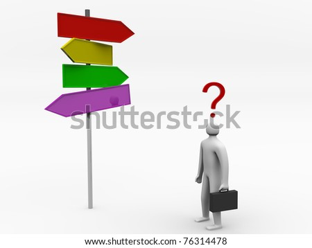 3D man making choice standing near sign post - render illustration