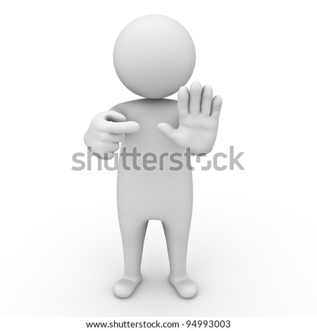 3d man making stop or no sign on white background