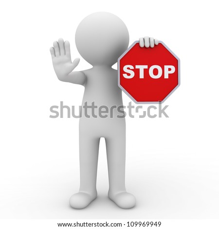 3d man making stop sign on white background