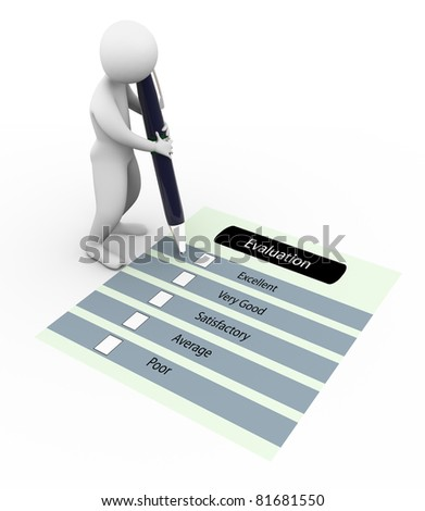 3d man marking on the evaluation questionnaire