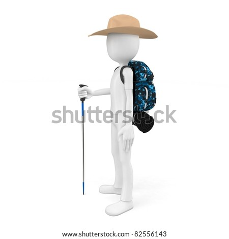 3d man mountain climber tourist with a backpack isolated on white - stock photo