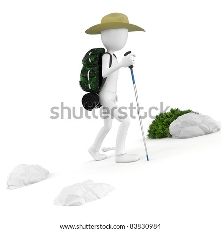 3d man mountain climber tourist with a backpack on white background