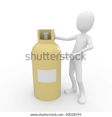 3d man near yellow gas tank with blank label