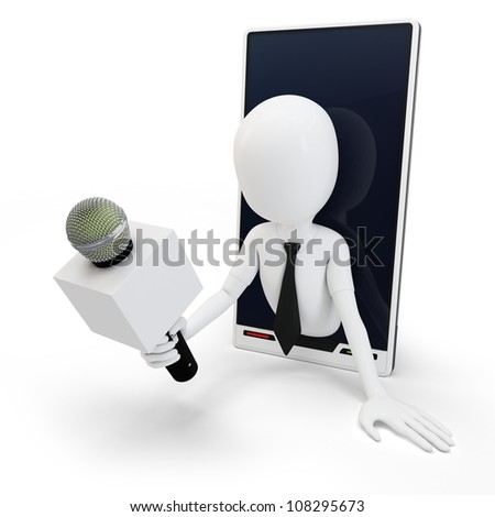 3d man online interview concept isolated on white - stock photo
