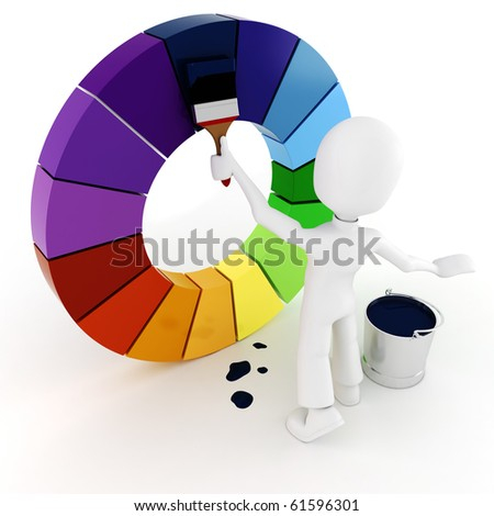 3d man painting a color wheel - stock photo
