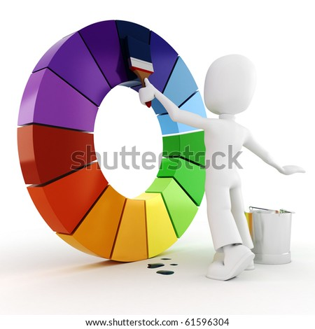 Man Painting Logo 3d Man Painting a Color Wheel