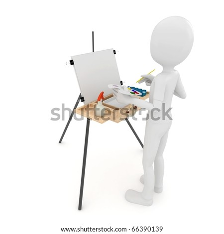 Man Painting Logo 3d Man Painting on Canvas