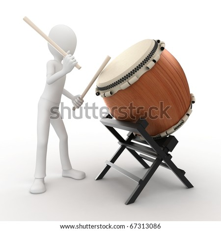 3d man playing a big drum isolated on white