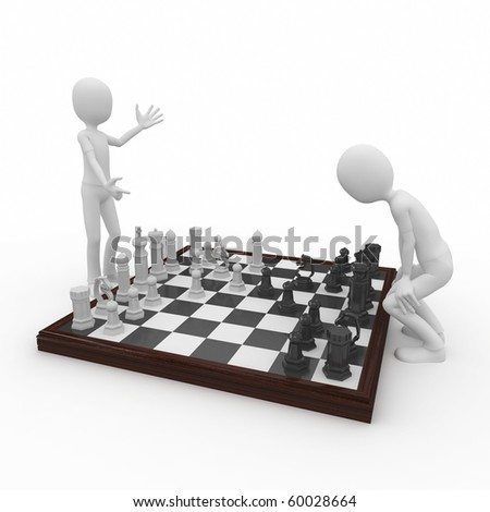 3d man playing a chess game