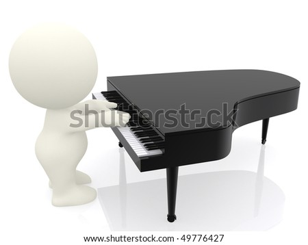 3D man playing piano isolated over white a white background