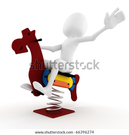 3d man playing with a wooden horse toy