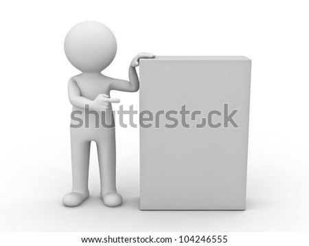 3d man pointing finger at blank box on white background