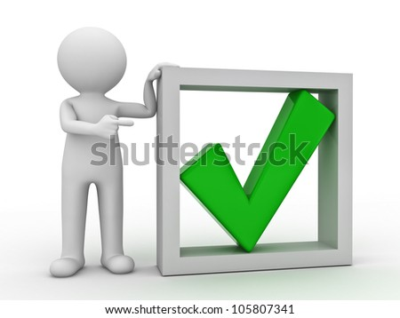 3d man pointing finger at green check mark in box on white background