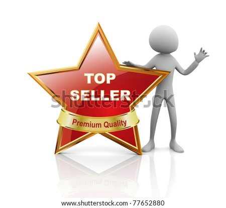 3d man presentation of best seller medal