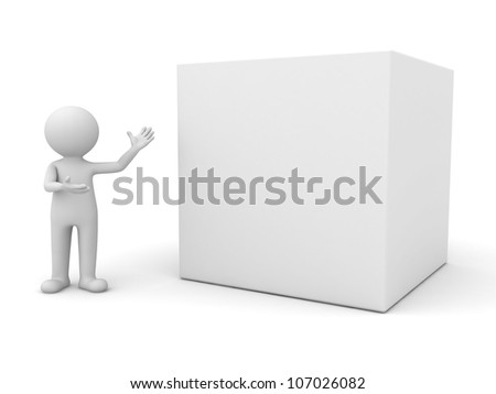 3d man presenting blank box on white background