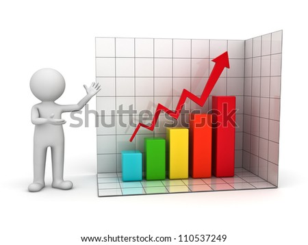 3d man presenting successful business graph over white background