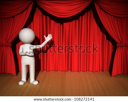 3d man presenting your product over red curtain background - stock photo
