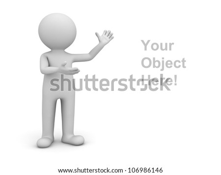 3d man presenting your product over white background