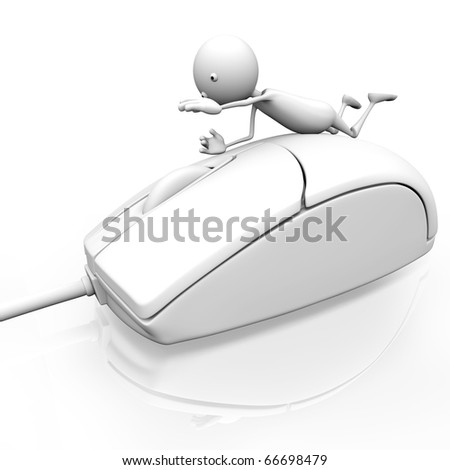 3d man presses his hand on computer mouse on white background.
