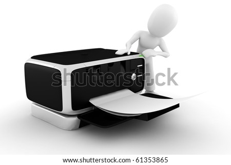 3d man printing some documents - stock photo