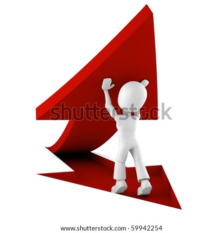 3d man pushing a red arrow from the ground - stock photo