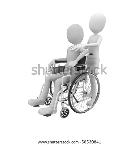 3d man pushing a wheel chair with patient