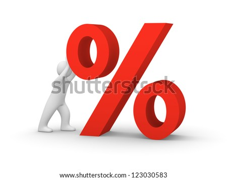3d man pushing big red percent sign. 3d rendering.