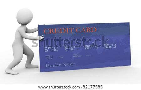 3d man pushing credit card