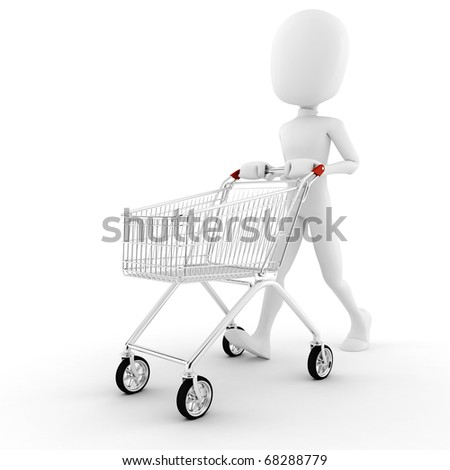 3d man pusing a shopping cart