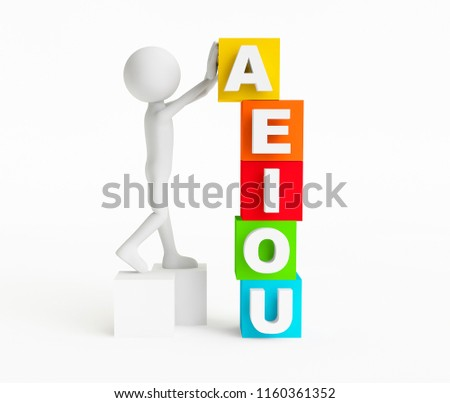 3D man putting in place a cube with the letter A just over the cubes with the vowel lettters EIOU on a white background. Concept children education. 3D Rendering.