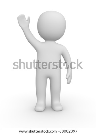 3d man raised one's hand for greeting