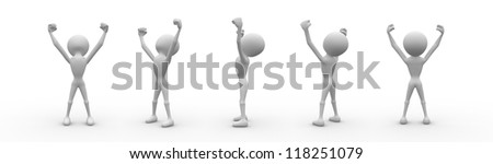 3d man raising arms in delight