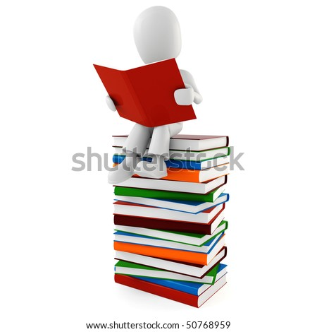 3d man reading a book