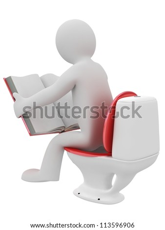 3D man reading a book in lavatory isolated on white