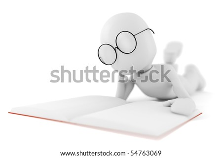 3d man reading a book, isolated on white