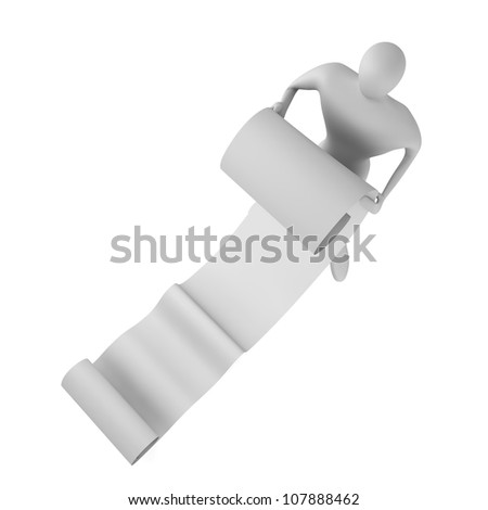 3d man reading a long paper band