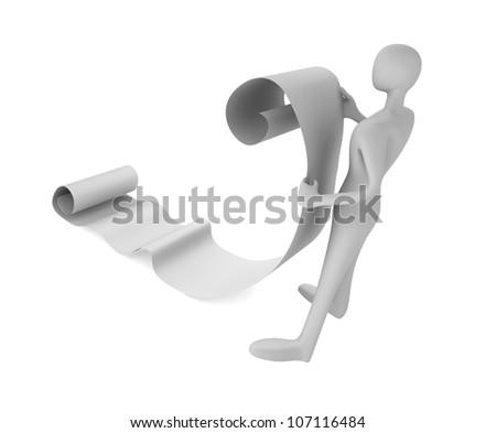3d man reading a long paper scroll
