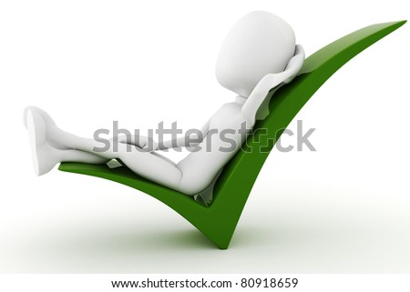 3d man relaxing in a positive sign isolated on white background