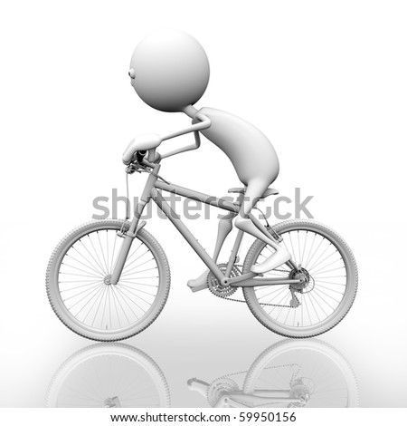 3d man rides a bicycle. Behind a white background.