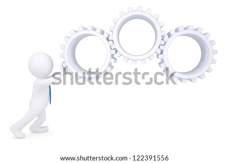 3d man rotate the gears. Isolated render on a white background