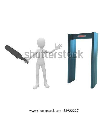3d man security inspector at gate