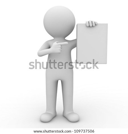 3d man showing blank box or book and pointing finger at it over white background