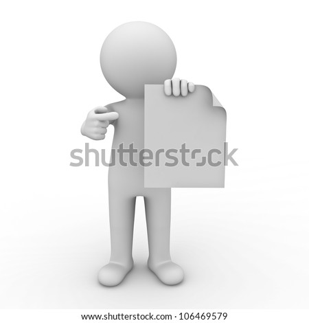 3d man showing blank paper and pointing finger at it on white background