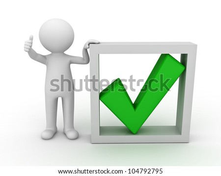 3d man showing thumb up with green check mark in box on white background