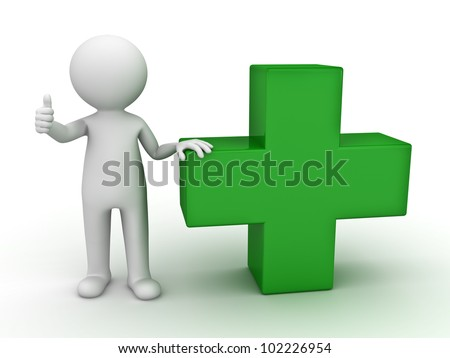 3d man showing thumb up with green plus sign on white background