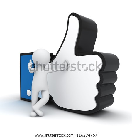 3d man showing thumb up with like hand symbol over white background