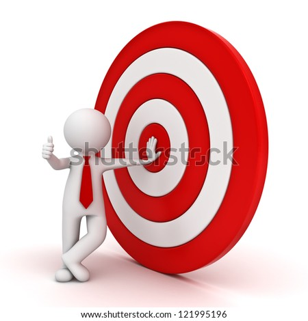 3d man showing thumb up with red target on white background
