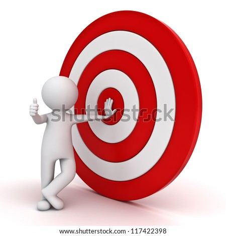 3d man showing thumb up with red target over white background
