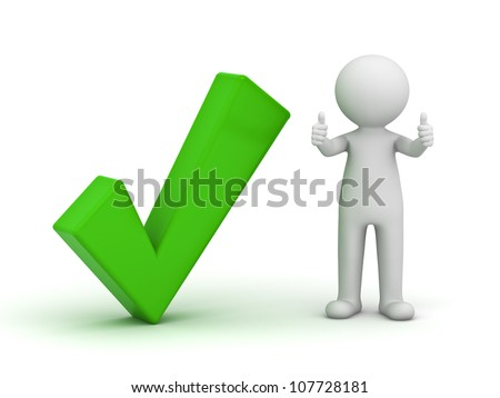3d man showing thumbs up with green check mark on white background